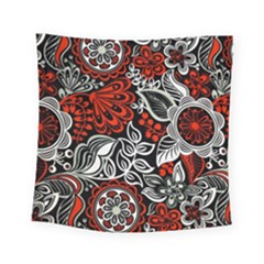 Red Batik Flower Square Tapestry (small)