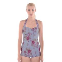 Rose Boyleg Halter Swimsuit