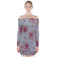 Rose Long Sleeve Off Shoulder Dress