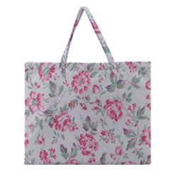 Rose Red Flower Zipper Large Tote Bag
