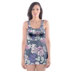 Simple Flower Skater Dress Swimsuit