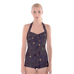 Preview Form Optical Illusion Rotation Boyleg Halter Swimsuit