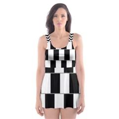 Wallpaper Line Black White Motion Optical Illusion Skater Dress Swimsuit