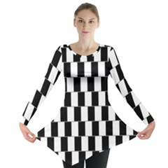 Wallpaper Line Black White Motion Optical Illusion Long Sleeve Tunic