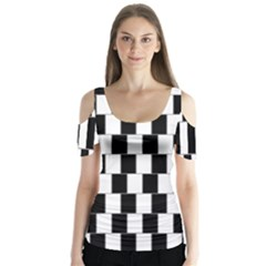 Wallpaper Line Black White Motion Optical Illusion Butterfly Sleeve Cutout Tee