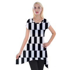 Wallpaper Line Black White Motion Optical Illusion Short Sleeve Side Drop Tunic