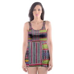 Strip Woven Cloth Color Skater Dress Swimsuit