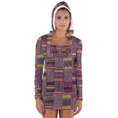 Strip Woven Cloth Color Women s Long Sleeve Hooded T-shirt