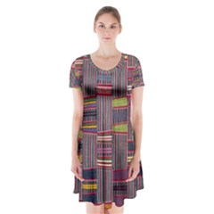 Strip Woven Cloth Color Short Sleeve V-neck Flare Dress