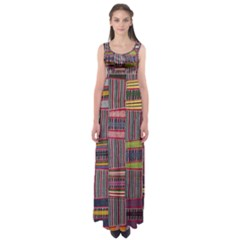 Strip Woven Cloth Color Empire Waist Maxi Dress