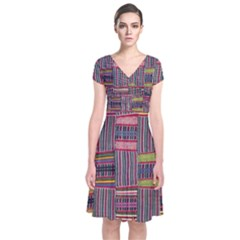 Strip Woven Cloth Color Short Sleeve Front Wrap Dress