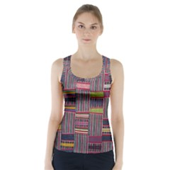 Strip Woven Cloth Color Racer Back Sports Top