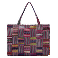 Strip Woven Cloth Color Medium Zipper Tote Bag