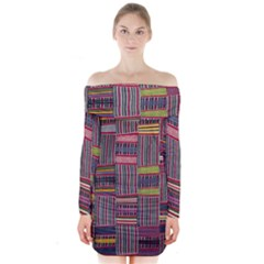 Strip Woven Cloth Color Long Sleeve Off Shoulder Dress