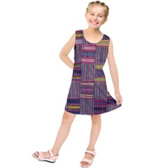 Strip Woven Cloth Color Kids  Tunic Dress