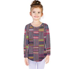 Strip Woven Cloth Color Kids  Long Sleeve Tee