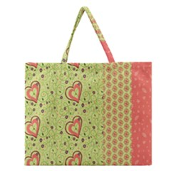 Organic Geometric Design Love Flower Zipper Large Tote Bag