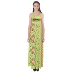 Organic Geometric Design Love Flower Empire Waist Maxi Dress