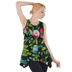 Tropical And Tropical Leaves Bird Side Drop Tank Tunic