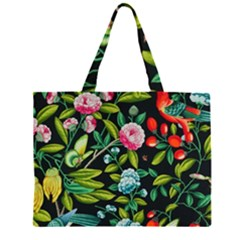Tropical And Tropical Leaves Bird Large Tote Bag