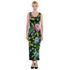 Tropical And Tropical Leaves Bird Fitted Maxi Dress