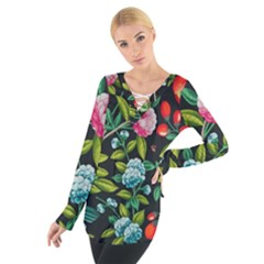 Tropical And Tropical Leaves Bird Women s Tie Up Tee