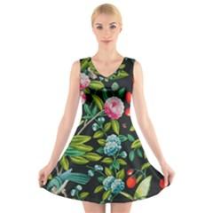 Tropical And Tropical Leaves Bird V-Neck Sleeveless Skater Dress
