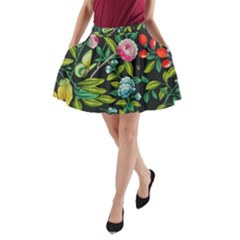 Tropical And Tropical Leaves Bird A-Line Pocket Skirt