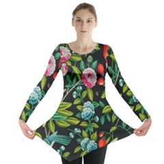 Tropical And Tropical Leaves Bird Long Sleeve Tunic