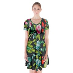 Tropical And Tropical Leaves Bird Short Sleeve V-neck Flare Dress