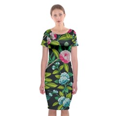 Tropical And Tropical Leaves Bird Classic Short Sleeve Midi Dress