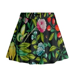 Tropical And Tropical Leaves Bird Mini Flare Skirt