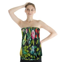 Tropical And Tropical Leaves Bird Strapless Top