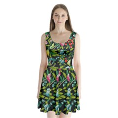Tropical And Tropical Leaves Bird Split Back Mini Dress