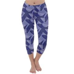 Incid Mono Geometric Shapes Project Blue Capri Winter Leggings