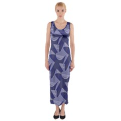 Incid Mono Geometric Shapes Project Blue Fitted Maxi Dress