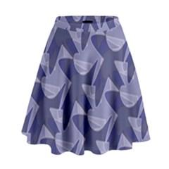 Incid Mono Geometric Shapes Project Blue High Waist Skirt