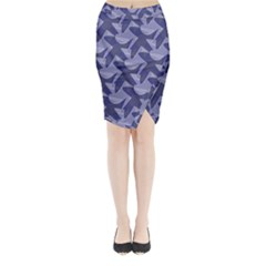 Incid Mono Geometric Shapes Project Blue Midi Wrap Pencil Skirt
