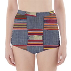 Strip Woven Cloth High-Waisted Bikini Bottoms