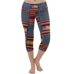 Strip Woven Cloth Capri Yoga Leggings