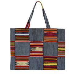 Strip Woven Cloth Large Tote Bag