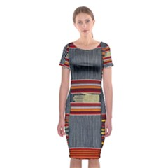 Strip Woven Cloth Classic Short Sleeve Midi Dress