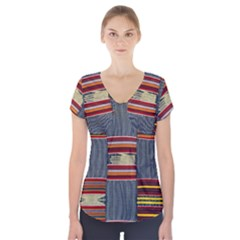 Strip Woven Cloth Short Sleeve Front Detail Top