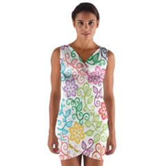 Texture Flowers Floral Seamless Wrap Front Bodycon Dress