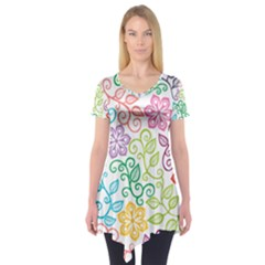 Texture Flowers Floral Seamless Short Sleeve Tunic