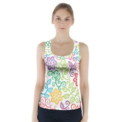 Texture Flowers Floral Seamless Racer Back Sports Top