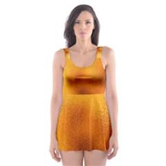 Blurred Glass Effect Skater Dress Swimsuit