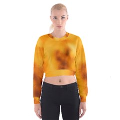 Blurred Glass Effect Women s Cropped Sweatshirt