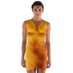 Blurred Glass Effect Wrap Front Bodycon Dress