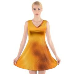 Blurred Glass Effect V Neck Sleeveless Skater Dress